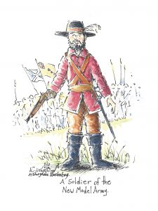 who was Oliver Cromwell, New Model Army, English Civil War, russet coated captain, red coat.